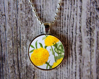 Marigold Necklace, October Birthday Necklace, Marigold Jewelry, October Flower of the Month, October Birthday,Birthday Necklace, Birth Month
