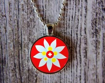 Edelweiss Necklace, Switzerland Necklace, Swiss Flag Jewelry, Swiss National Flower, Flag of Switzerland,  Swiss Flag  and Edelweiss
