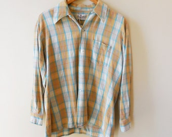 20% OFF 70s pastel plaid flannel shirt