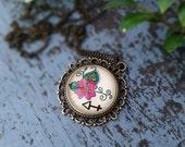 Sagittarius Zodiac Necklace Arrow Constellation Astrology Sign Henna Mehndi Vintage Style Hand Drawn Handmade Jewelry Floral Paisley Design