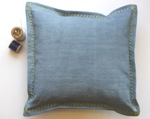 TRUE BLUE Hand Stitched Oxford Pillow Cover, French Workwear Fabric, Mid Century Vintage, Ready Made