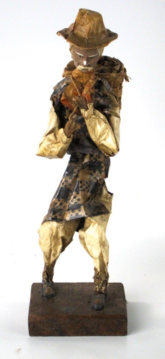 Amazing papier mache 13 tall man carrying large basket for Cool paper mache