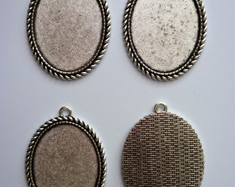 4 Large Antique Silver Tone Oval Cameo Setting 30 x 40mm Tray Blanks (C)