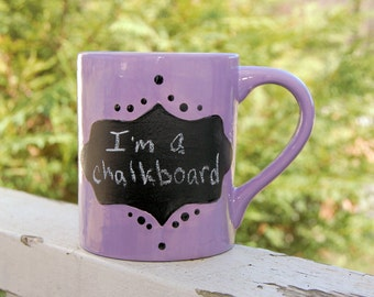 Chalkboard Handcrafted Ceramic Coffee Mug