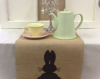 """Burlap Table Runner 12"""", 14"""", or 15"""" wide with a Bunny on each end - Easter runner Holiday decorating"""