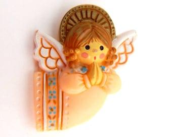 Vintage Hallmark Christmas Angel Brooch Pin, Little Girl Angel Praying Christmas Pin, Christmas Jewelry Holidays