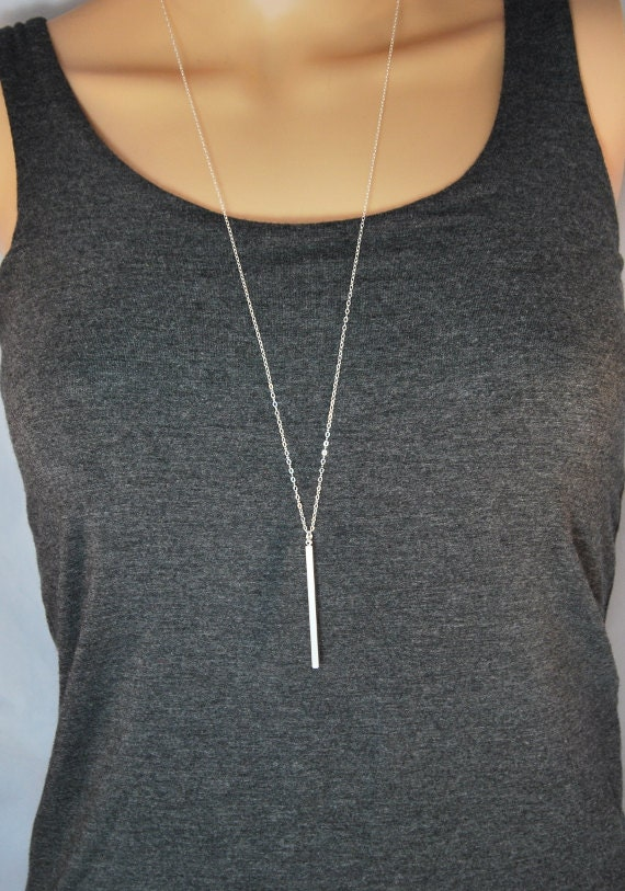 Long Silver Bar Necklace Skinny Bar Layering By Sparrowstrove