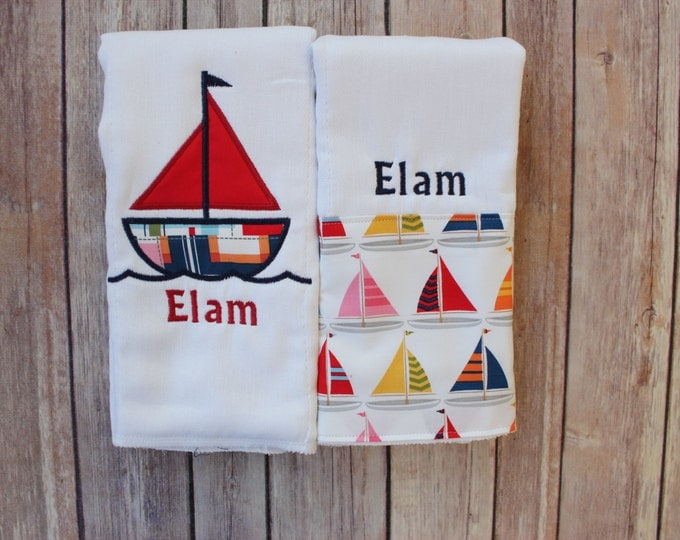 Monogrammed Baby Boy Sailboat Burp Cloth Set, Sailboat Baby Gift, Nautical Burp Cloth Set, Nautical Baby Gift, Baby Boy Sailboat Burp