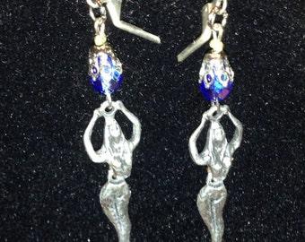 Handmade Mermaid Earrings in Silver