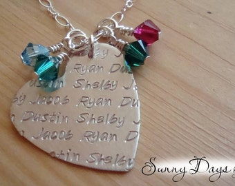 Motherly Love - Sterling Silver Hand-Stamped Heart with up to 4 Birthstones and 4 Names - Mother's Day - Grandmother - Children - Birthday