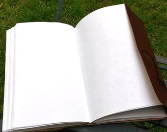 Large hand bound leather notebook, sketch book, diary, journal with handmade paper