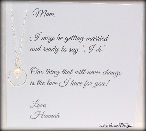 Thank You Wedding Gifts For Mum : ... , Mom necklace, Brides Mother, Thank you Mom, wedding gift for mother