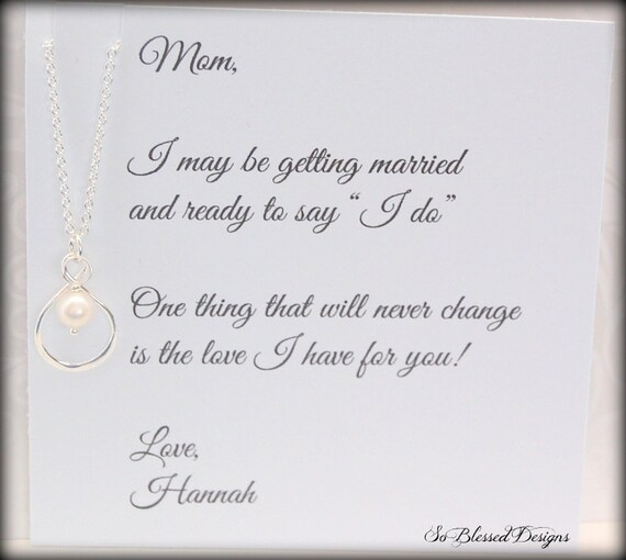Wedding Thank You Gift For Mom : ... , Mom necklace, Brides Mother, Thank you Mom, wedding gift for mother