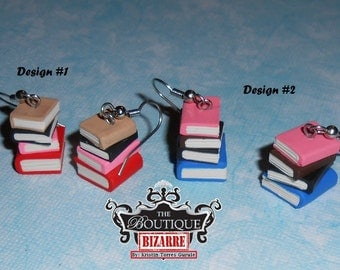 Miniature Stack of Book Earrings (Matches Bookshelf Necklace) book jewelry, library, realistic miniature stack of books, colorful