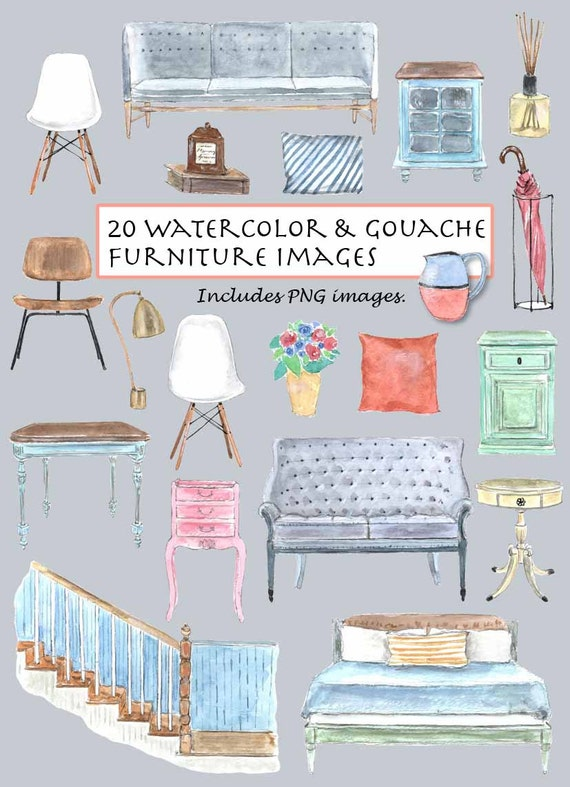 Clip Art Watercolor Amp Gouache Vintage Furniture Set 20