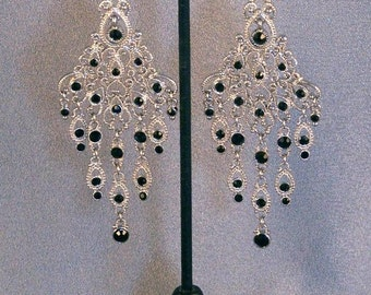 SALE Fabulous Silver Tone Chandelier Earrings with Black Rhinestones // Evening Wear // Opera Wear // Festive Occasion ***WAS 20.00