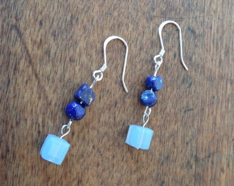 Opal and Lapis Lazuli earrings