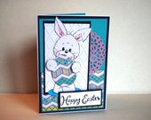 Happy Easter Handmade Greeting Card - Easter Bunny
