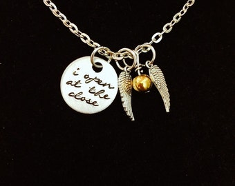 Script I Open At The Close Golden Snitch Charm Necklace