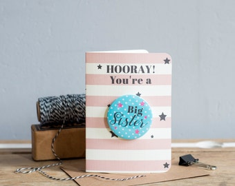 HOORAY You're a Big Sister! Special New Baby Card for those becoming a Big Sister - Baby Card