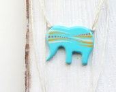 Animal pendant Necklace elephant Small animal pendant Yellow pendant Elephant jewelry Cute Christmas gift Gift idea for Her Present for girl