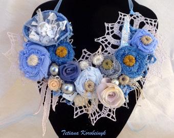 Necklace style,  fabric flowers, fashion,Boho