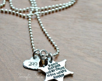 Hero Wears Kevlar Style 2- Peronalized Hand Stamped Sheriff Badge Necklace