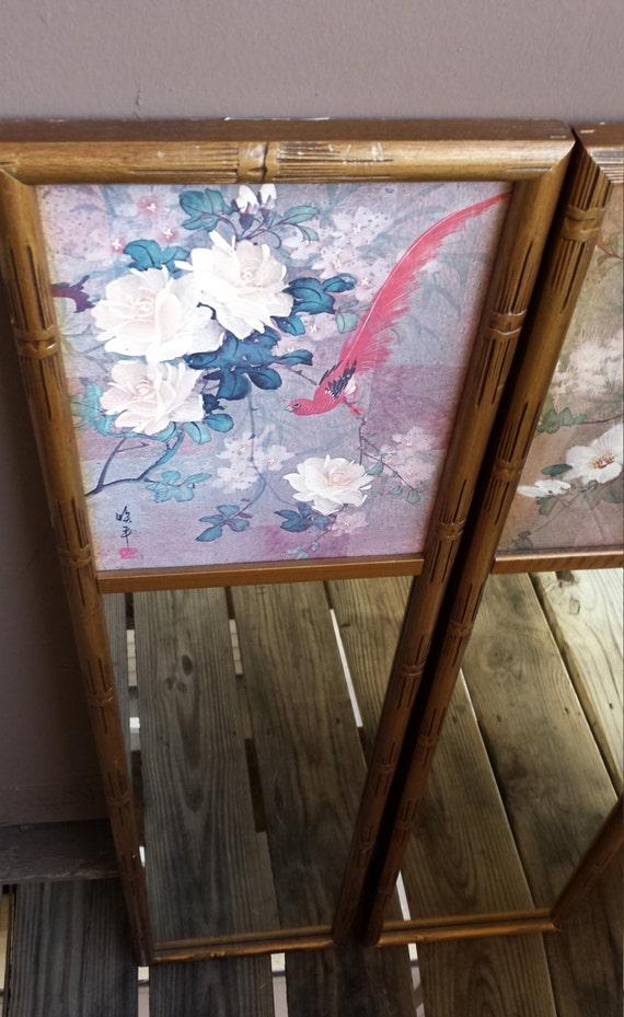 Japanese style artistic wall mirror pair by getsumvintage for Asian style mirror