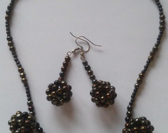 One of a kind beaded blackberry-like earrings and necklace