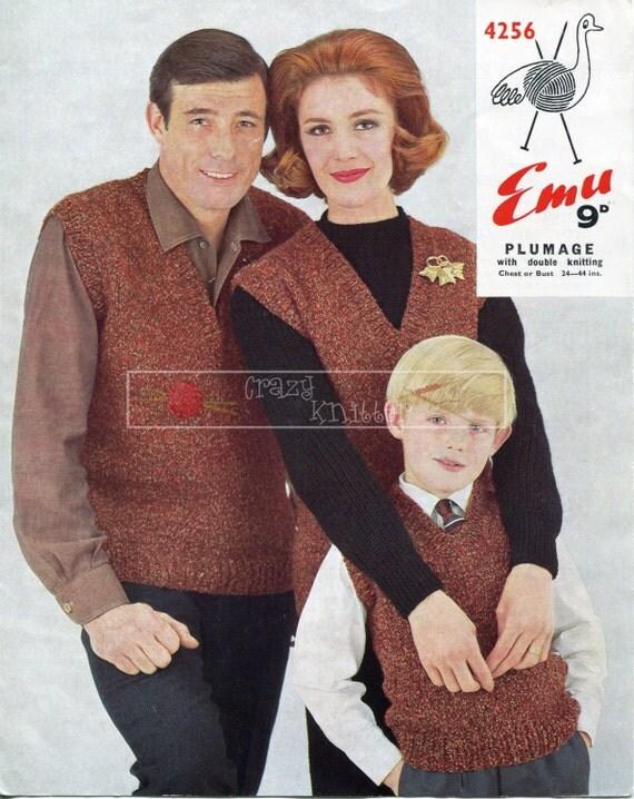 Family Pullover Gilet DK 24-44ins Emu 4256 Vintage Knitting Pattern PDF instant download