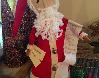 Primitive Christmas Santa with Naughty or Nice Personalized Christmas List