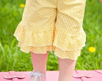 Girl Toddler Double ruffle capris, Made to match capris, sizes 12 months, 18 months, 2t, 3t, 4t, 5, 6, 7, 8 girls