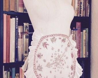 Vintage Half Apron, Clock Handkerchief, Hankie Apron, 1950s Hostess, White Organdy