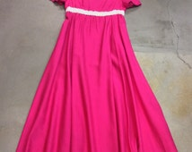 Pretty in Pink Late 50's Early 60's Maxi Dress, Full Skirt, Sequins Empire Waist Line. Maxi Length Dress, Bright Pink.