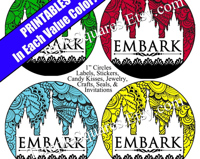 """Printable Digital Files. Lace EMBARK Value Colors 1"""" circles LDS Mutual YW Young Women 2015 Theme Embark in the Service of God"""