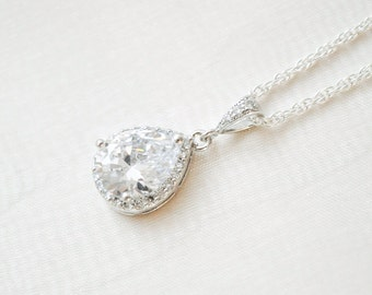 Crystal Teardrop Pendant, Crystal Bridal Necklace, Sterling Silver Chain, Crystal Pendant, Wedding Necklace