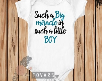 Such a Big Miracle in Such a Little Boy Shirt - Miracle Baby Shirt - Miracle Baby t shirt - Christian shirt - rainbow baby shirt - rainbow