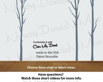 Winter Tree Decal for Wall,  Nursery Tree Decal, Winter Tree Decal (Lt Grey Dead Trees No Deer) Dead_Nature_Tree NTD