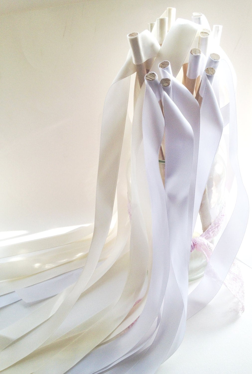 Wedding ribbon wands white ribbon wands party by for Wedding wands