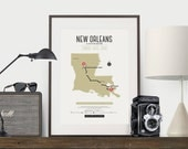 Zombie Safe Zone New Orleans Map Poster - Louisiana Map