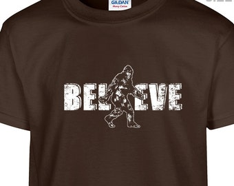 YOUTH / KIDS Bigfoot Believe T Shirt Funny Sasquatch Kids Shirt Cool Chidrens Bigfoot Shirt