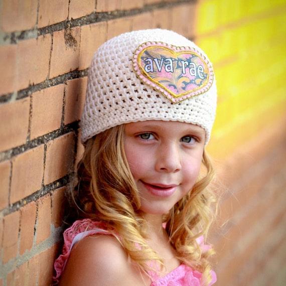 Girls Hat, Monogrammed Hat, Personalized Hat, Great Kids Hats, Crochet Cotton Hat, Appliqued Hat, Girls Accessories, Unique Kids Gifts, Hats