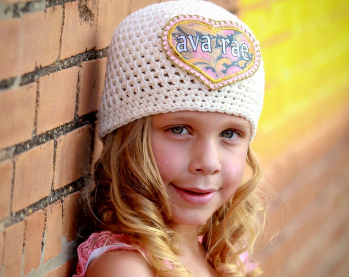 Featured listing image: Girls Hat, Monogrammed Hat, Personalized Hat, Great Kids Hats, Crochet Cotton Hat, Appliqued Hat, Girls Accessories, Unique Kids Gifts, Hats