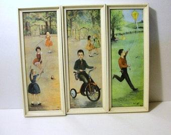 Framed Lithographs 1950's Vintage Set of 3 Children at play Signed Walt Litt