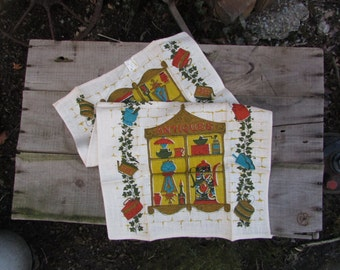 Linen Tea Towel with Tag. VINTAGE Antiques in Window. NOS, New Old Stock. Unused NICE Condition