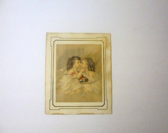 Victorian era Lithograph of Two Children Dated 1877 Kiss and Make Up Written Info. Back of Picture
