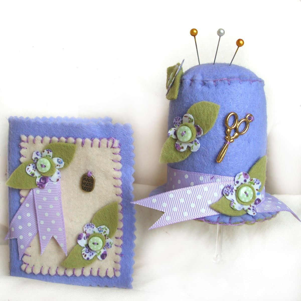 Pin Cushion And Needle Case Sewing Gift Set With A Lilac