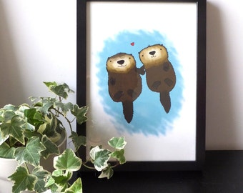 Otters love Valentines Art Print A4