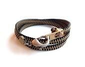 Mens' Long Vintage Brass Zipper Bracelet