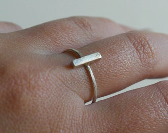 Bar ring sterling silver ring minimalist ring geometric ring silver bar ring dainty ring stacking ring line ring - amejewels